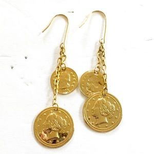 COIN Gold Dangle Earrings Vintage